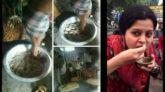 নগরীর মহাজনপট্টিতে মেঝেতে পা দিয়ে ফুচকা তৈরি