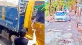 গোয়াইনঘাট-সালুটিকর সড়ক ধ্বসিয়ে ফেলছে পাথরবাহী ট্রাক : থামছে না চাঁদাবাজি